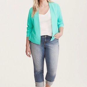 Torrid jacket blazer 5x open front aqua green